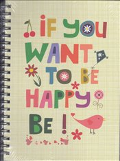 Deffter - Lovely If You Want To Be Happy Sert Kapak Spiralli Çizgili Defter 20x28 96yp. -