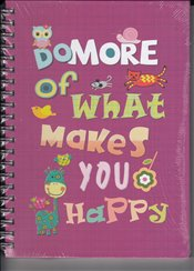 Deffter - Lovely Be More Happy Sert Kapak Spiralli Çizgili Defter 20x28 96yp. -