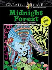 Creative Haven Midnight Forest Coloring Book: Animal Designs on a Dramatic Black Background (Creativ - Boylan, Lindsey