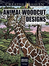 Creative Haven Deluxe Edition Animal Woodcut Designs Coloring Book: Striking Designs on a Dramatic B - Foley, Tim